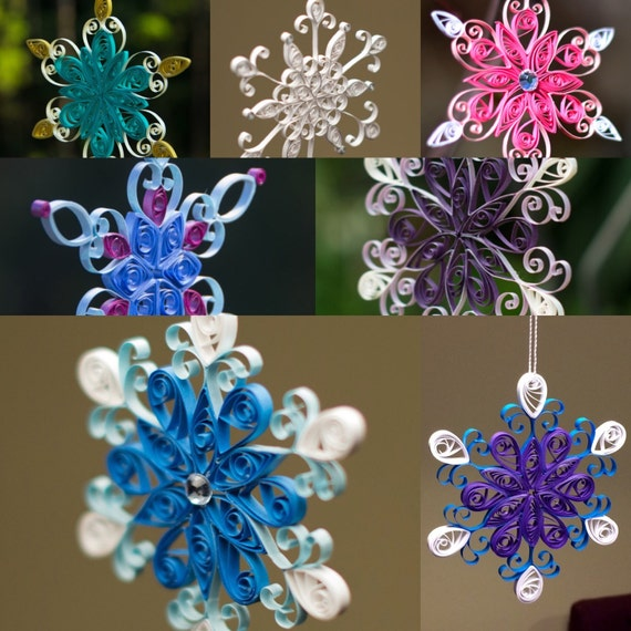 Cyber Monday Sale! Set of 5 Assorted Colors Quilled Paper Snowflakes Christmas Ornament or Decoration Handmade