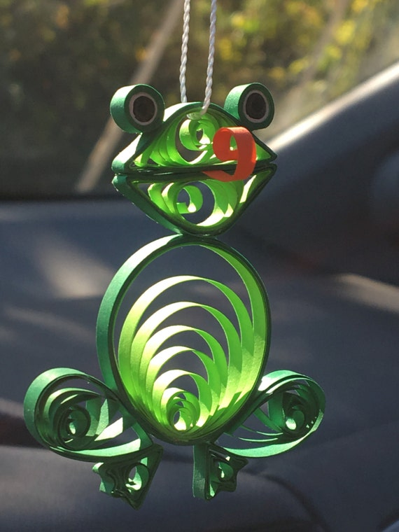 Quilled Christmas Paper Art Ornament Ribbet the Frog