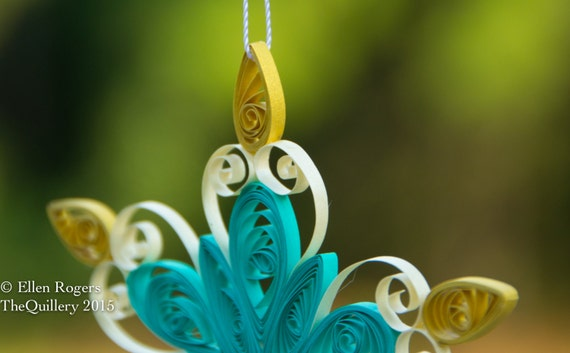 Handmade Quilled Teal, Cream and Gold Snowflake Christmas Ornament or Window Decoration