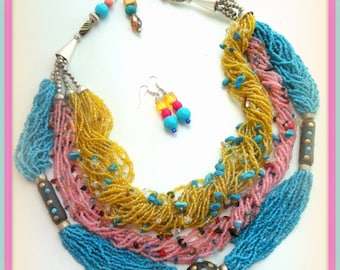African Necklace, African Jewelry, Statement Necklace, Bib Necklace, Boho Necklace, Tribal Necklace, Bib, Blue Pink Yellow, Boho Jewelry