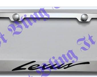 2X Lexus Script Black Stainless Steel License Plate Frame Rust Free W// Boltcap