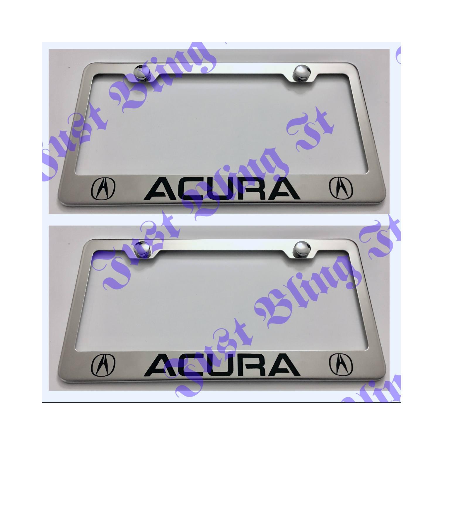 Zwei 2 X Acura Edelstahl Nummernschild Rahmen Rost