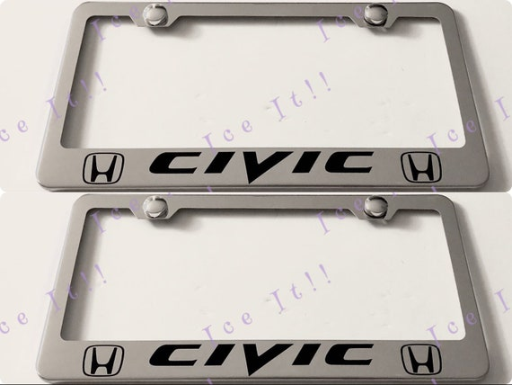 Two 2 x HONDA CIVIC Stainless Steel Metal License Plate | Etsy