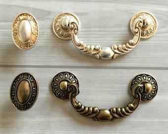 Hard-Working 2 Handles Pulls Cabinet Drawer Bright Brass Tone Buckle Style Vintage Retro Door Knobs & Handles
