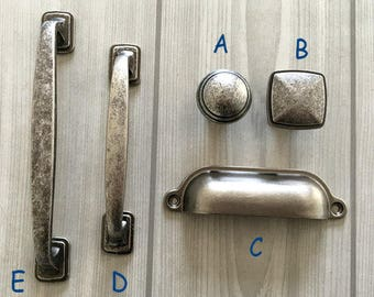 New Antique Pewter Cabinet Knobs and Pulls