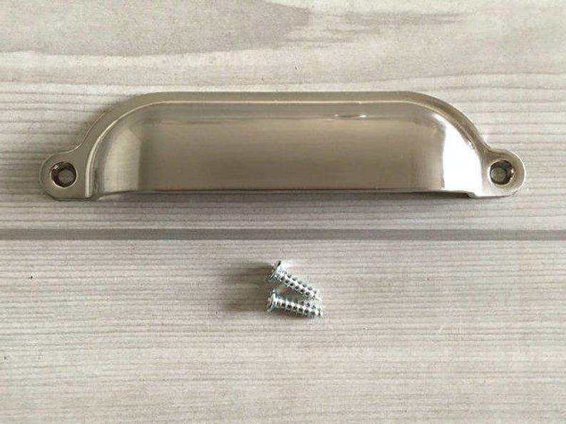 3.5 3.75 4.75 Cup Drawer Pull Bin Brushed Nickel Dresser Pulls Knobs Handle Shell Cabinet Knob Pulls Door Lynns Hardware 4 34 89 96 120