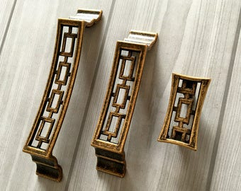 "1.25"" 3.75"" 5"" Vintage Style Dresser Drawer Pull Handles Antique Brass Square Kitchen Door Cabinet Handle  Rustic Lynns Hardware 32 96 128"