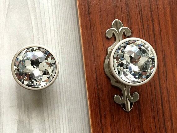 Glass Dresser Knobs Crystal Drawer Knob Pull Handles Sparkle | Etsy