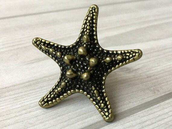 Starfish Knob Sea Star Antique Bronze Silver Black Dresser | Etsy