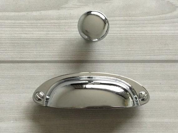 Polished Nickel Black Chrome Kitchen Bathroom Cabinet Door Drawer Glossy ShinyFurniture Handles 160mm Hole Center, Polished Nickel Black
