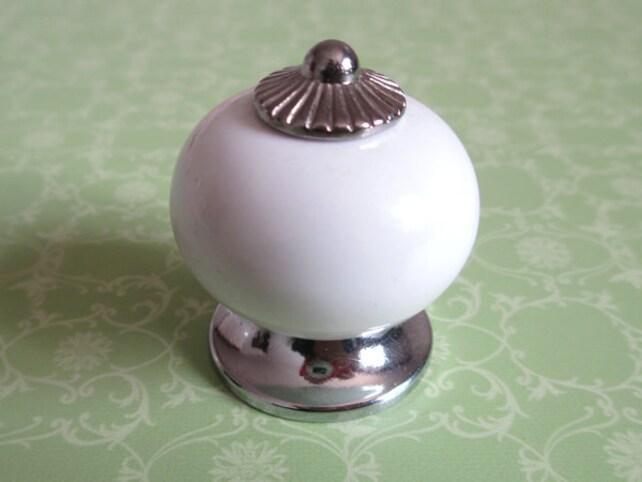 Silber Weiß Möbelknopf Knäufe Metall Keramik / Küche Porzellan | Etsy