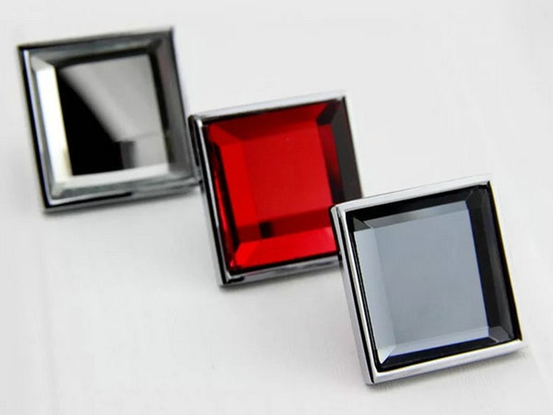 Glass Crystal Kitchen Cabinet Knobs Pulls Handle Square Grey Blue Red Clear Modern Drawer Knobs Pull Handle Cupboard Dresser Hardware