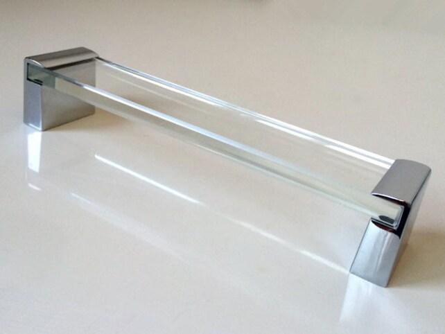 160 mm Groß Glas Silber Möbel Griffe Griff Küche Kabinett | Etsy