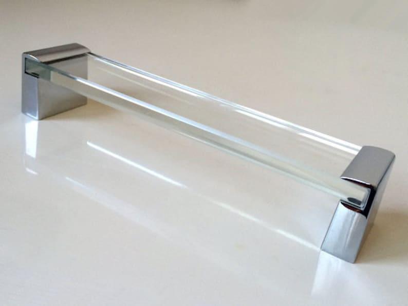 160 mm Groß Glas Silber Möbel Griffe Griff Küche Kabinett Möbelgriff  Möbelgriffe Schubladen Griff Türgriffe Küchengriffe Chrom Handgriffen