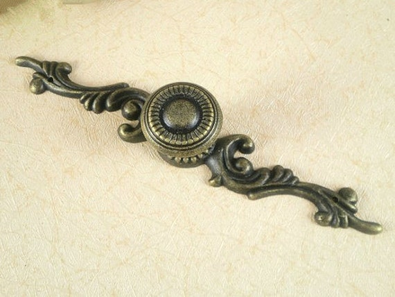 Rustic Dresser Drawer Knobs Pulls Backplate Antique Bronze French Cabinet  Pull Knob Ornate Cottage Chic Back Plate Plates Lynns Hardware 125