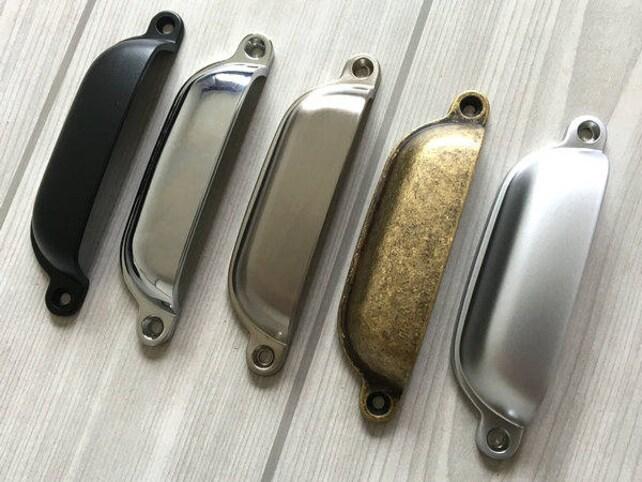96 mm Schwarz Gold Schalengriffe Schubladen Griffe Muschel | Etsy