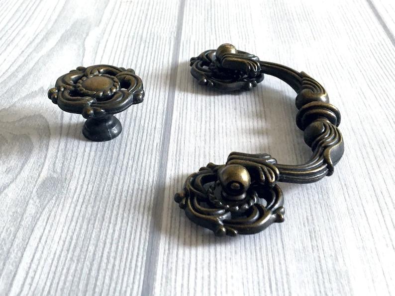 3.5 Drop Bail Handle Antique Bronze Gold Dresser Pulls Drawer Pull Handles Rustic Cabinet Pulls Handle Knobs Lynns Hardware 90 mm 3 12