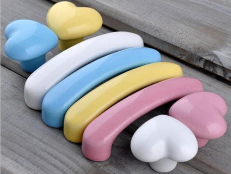 3\u201c Blue Pink Yellow White Heart Dresser Knob Pull Drawer Pulls Handles Knobs Ceramic Kitchen Cabinet Door Handle Pull Knob Kids Children 76