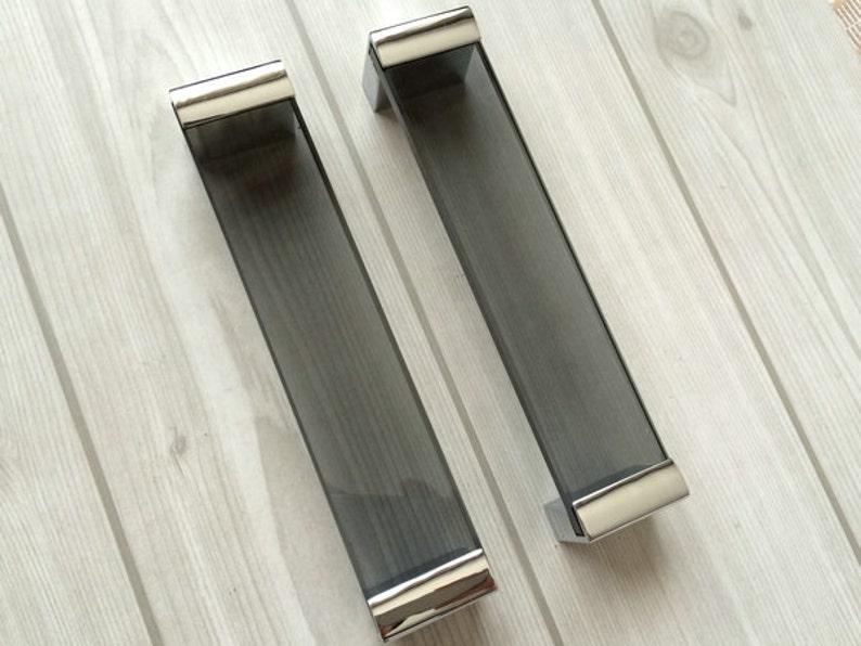 160 mm Groß Glas Silber Schwarz Möbel Griffe Griff Küche | Etsy