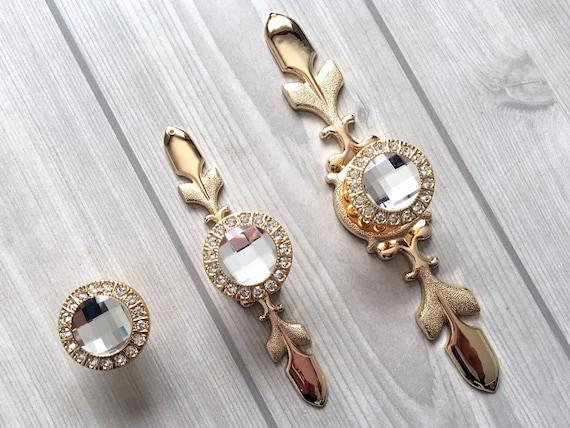 Gold Crystal Drawer Knobs Pulls Handles Glass Knobs Dresser Knob Kitchen Cabinet Door Knobs Plate Plates Handle Pull Bling Lynns Hardware