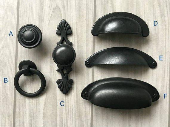 Antique Black Knob Rustic Cabinet Door Knobs Dresser Knobs Etsy