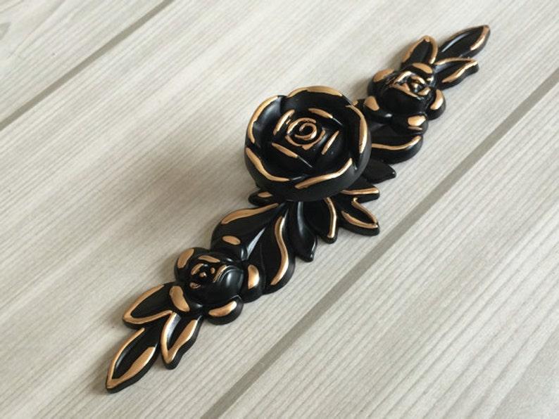 Shabby Chic Dresser Drawer Knobs Pulls Handles Black Gold Rose  Flower Kitchen Cabinet Knobs Handles Pull Ornate Knob Back Plate Hardware