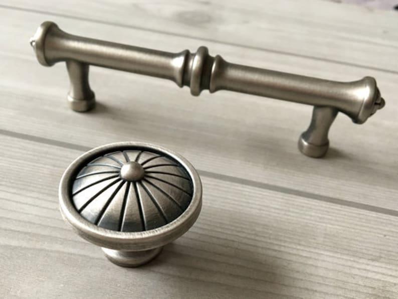 3.75 Drawer Pulls Handles Knobs Dresser Pull Handle Grey Antique Black Silver Pewter Cabinet Door Handle Pull Handles Lynns Haredware 96 mm