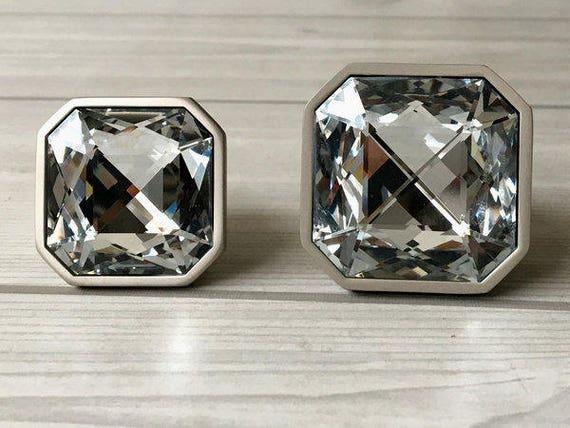 Glass Knob Dresser Knobs Crystal Drawer Knobs Pulls Handles Sparkle Clear  Diamond Cabinet Door Knob Square Brushed Nickel Lynns Hardware From  LynnsHardware ...