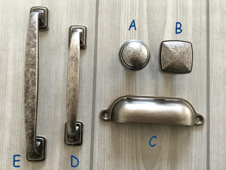 Pewter Drawer Knob Pull Handles Dresser Pulls Kitchen Cabinet Handles Pull Door Handles Pewter Antique Black Silver Lynns Hardware 96 128 Mm