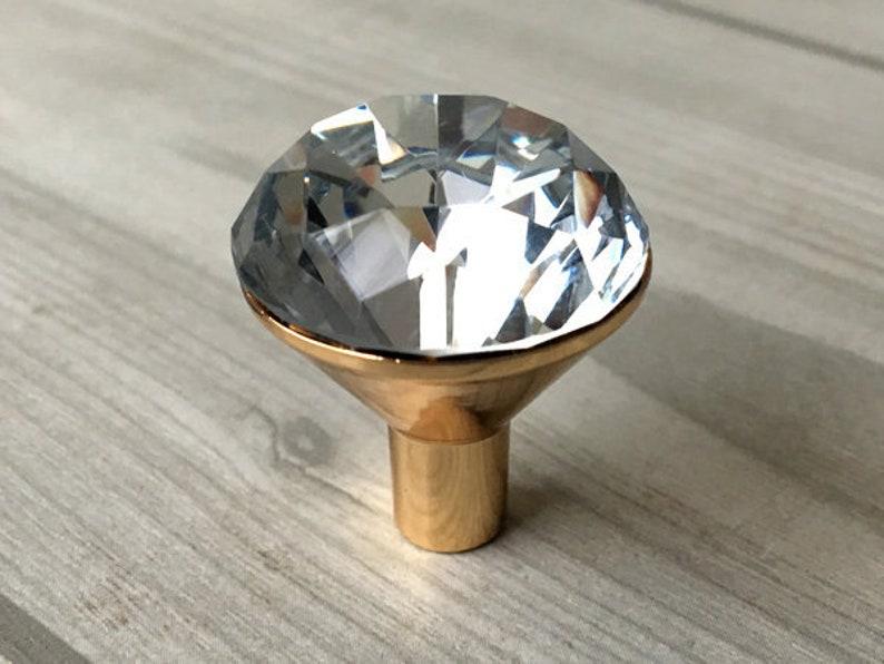 Glass Drawer Knob Pull Crystal Dresser Knobs Pulls Handle Gold Clear Rhinestone Kitchen Cabinet Door Handle