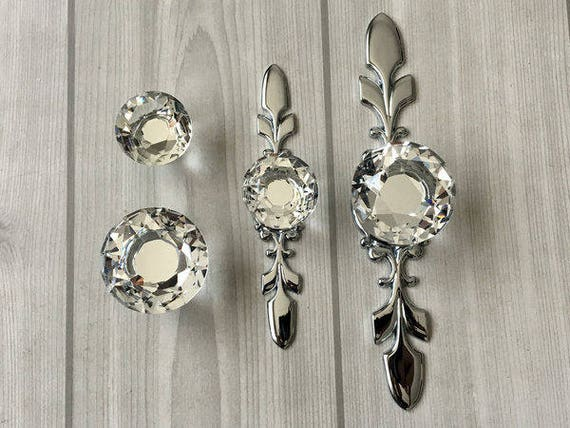 Glass Dresser Knob Pull Crystal Drawer Knobs Pulls Handle Silver Clear  Rhinestone Cabinet Door Handle Back Plate Bling Blings Lynns Hardware