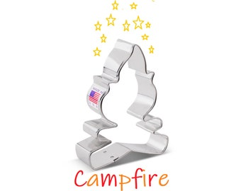 Bonfire Cookie Cutter Bakerlogy biscuit cutters camping party outdoor adventure hunt backyard summer birthday campout countryside pitch