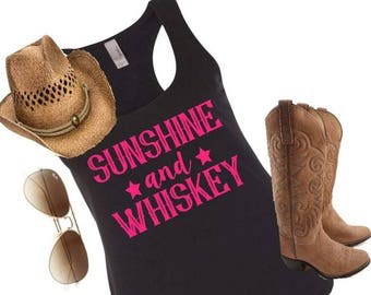 Sunshine and whiskey, country music shirt, country tank top, country shirt, country girl, country concert, country tank