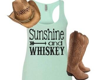 Sunshine and whiskey, sunshine and whiskey tank, womens racerback tank, country tee, whiskey tank