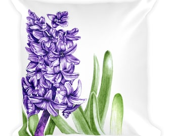 Purple Hyacinth Square Pillow