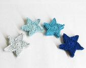 Crocheted stars, 4.5 cm appliques, blue mix, 12 pc.