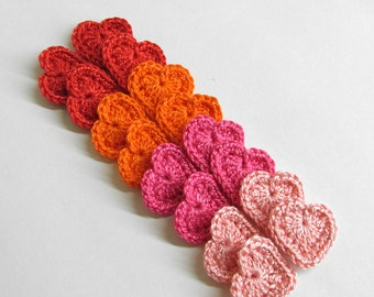 Crocheted heart appliques, 0.8 inches red, pink, orange tiny appliques, set of 16