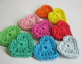 Crocheted heart appliques, 9 pc, colorful patch, cotton appliques, Valentine day hearts, 1,3 inches