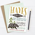 Woodland Camping Birthday Invitation