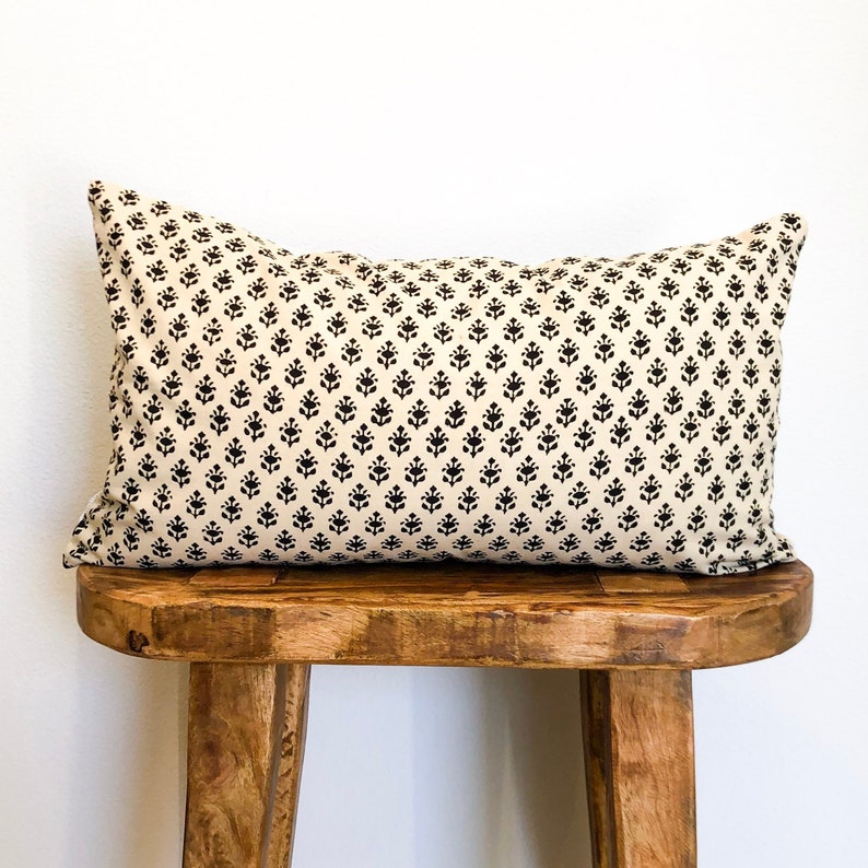 12 x 20 Cream Block Print Lumbar Pillow image 0