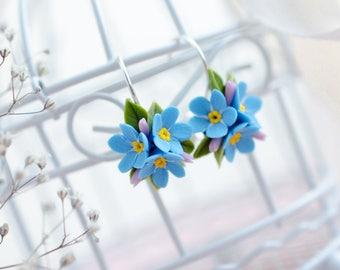 Forget me nots earrings, Forget-Me-Not jewelry, Handmade floral earrings, Myosotis earrings, Sterling silver earrings, Bridesmaid gift
