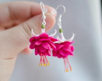 Pink fuchsia earrings, Dangle fuchsia flower jewelry, Magenta earrings, Bridal fuchsia gift, gift for her, Handmadeblossom