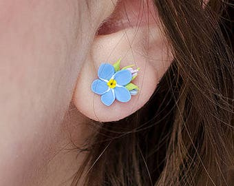 Forget me nots stud earrings, Forget-Me-Not studs, Handmade floral jewelry, Myosotis earrings, Sterling silver studs, Bridesmaid gift