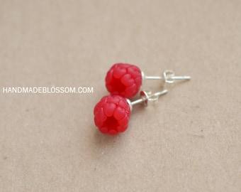 Raspberry stud earrings, Tiny berry jewelry, Handmade berries, Sterling silver studs, Red berries earrings, Raspberry wedding theme