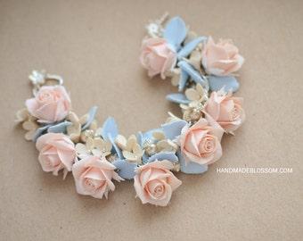 Handmade roses bracelet, Polymer clay flowers, Peach roses jewellry, Fimo roses, Flowers bracelet, Floral jewelry, Roses jewelry