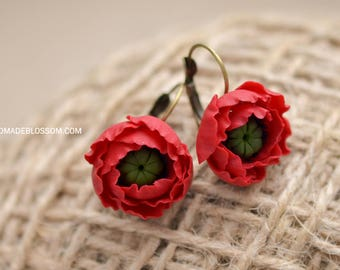 Poppy red earrings, Red flower earrings, Wildflowers jewelry, Red wedding earrings, Red style jewelry