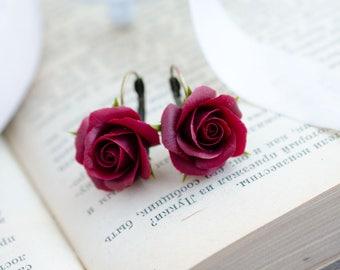 Dark red earrings, Dangle roses earrings, Marsala jewelry, Burgundy floral earrings, Clay flowers, Marsala wedding, bride gift, Flower lover