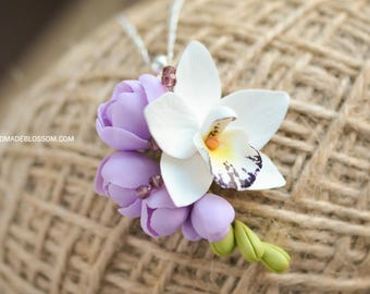 White orchid pendant, Phalaenopsis orchid pendant, Purple freesia pendant, Orchid wedding accessories, white orchid flower, botanic pendant