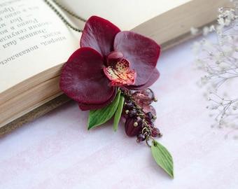 Dark red orchid pendant, Burgundy phalaenopsis  pendant, Orchid wedding accessories, Marsala orchid flower, Handmadeblossom