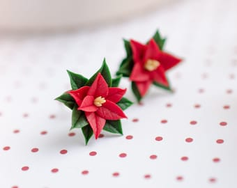Red poinsettia studs, Christmas flower earrings, Xmax red floral posts, Holiday earrings, Gift for girl on christmas, Tiny red flowers